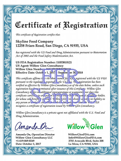 Expedited International Food Facility Registration and US Agent Service