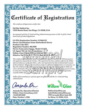 FDA medical Certificate of registration 注册证书  註冊證書