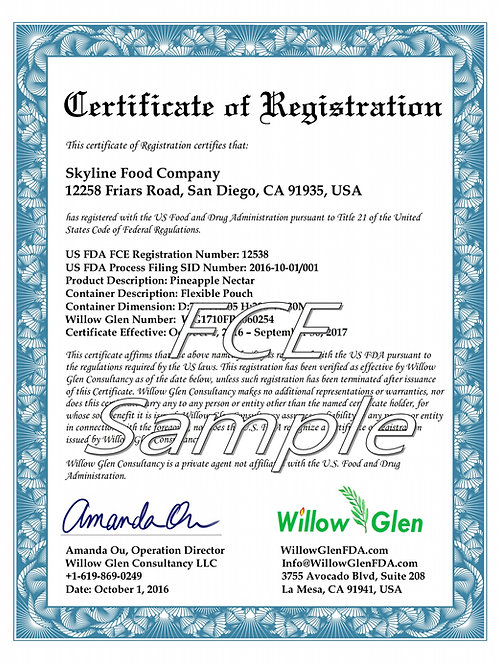 Food Canning Establishment (FCE) and Process Filings