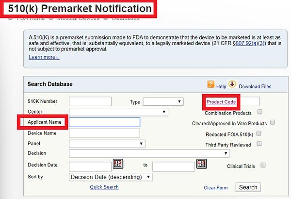 510K FDA Registration Number Search.png