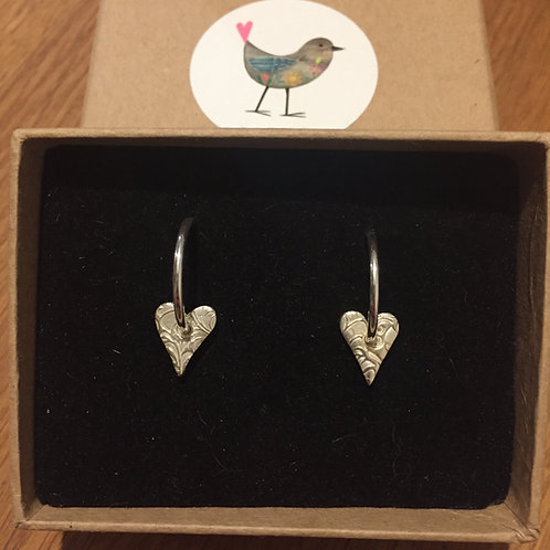 Solid Silver Heart Earings