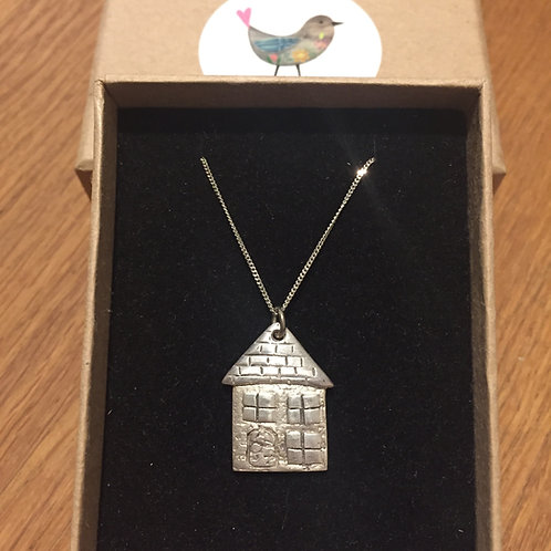 Solid Silver Little House Pendant / Necklace