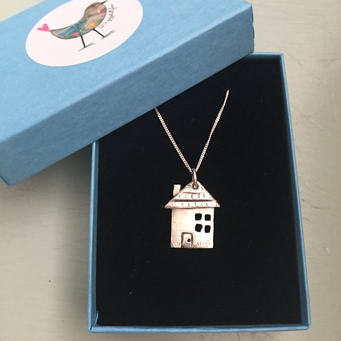 Solid Fine Silver House / Home Pendant