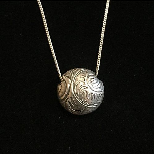Silver lentil bead necklace