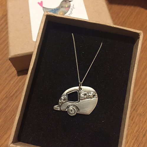 Gorgeous Retro Caravan Pendant / Necklace - Solid Fine Silver