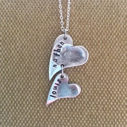 Silver Fingerprint Heart Cascade