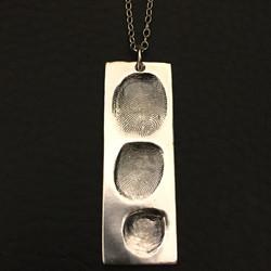 Silver Fingerprints Dog Tag