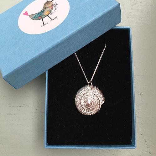 Solid Fine Silver Shell Pendant