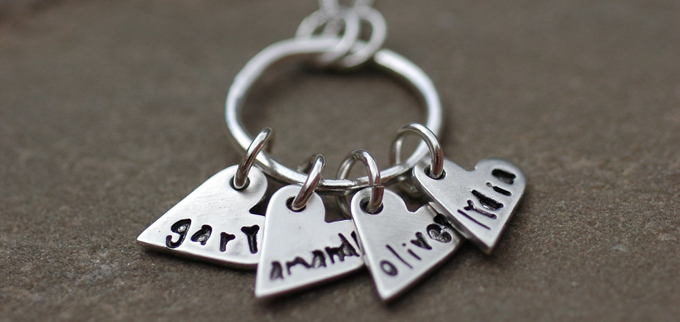 personalised family cluster necklace
