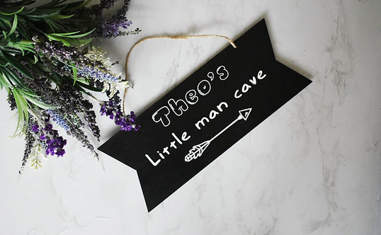 Personalised Kids - Little Man Cave -  Wooden Plaque