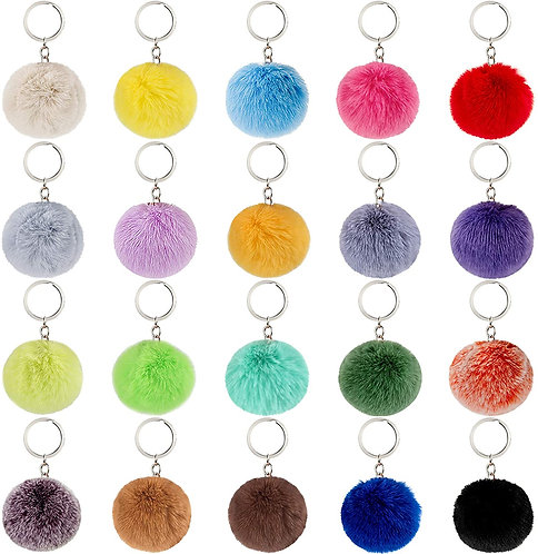 Large Silver Keyring Pompom Accessory