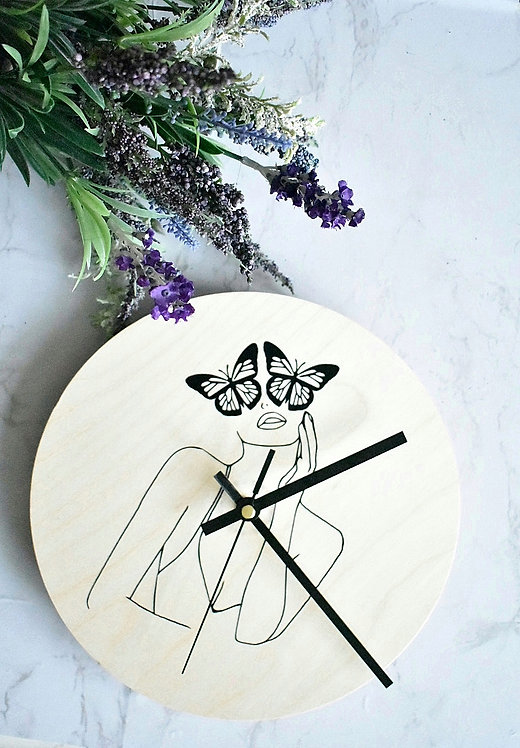 Spread Your Wings -  Natural Wood Clock