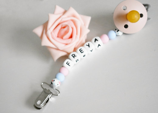 Personalised beaded pacifier clip - Style B