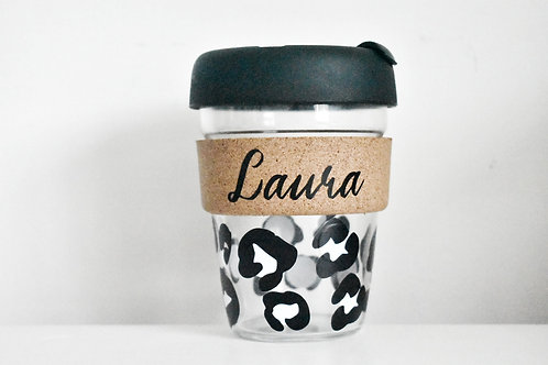Personalised Leopard Print Travel Cup