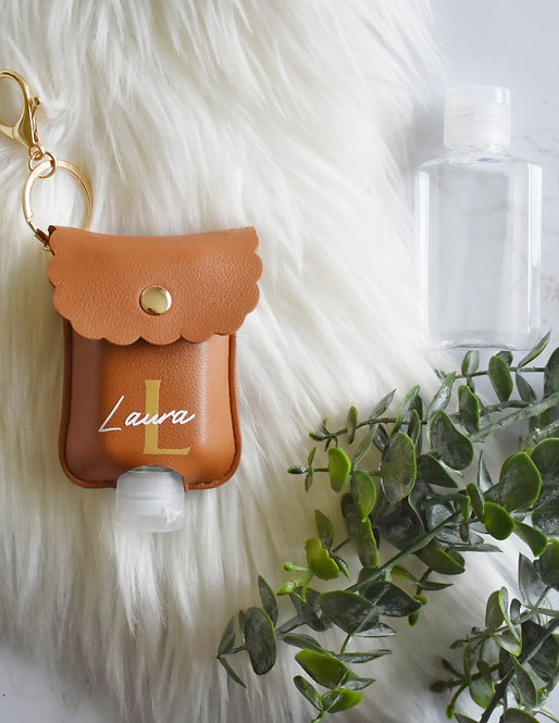 Name & Initial - Personalised Hand Sanitiser / Lotion Key Ring Pouch