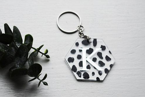 Dalmatian - Hexagon -  Personalised Keyring