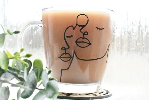Abstract Double Faces Personalised Glass Mug (350ML)