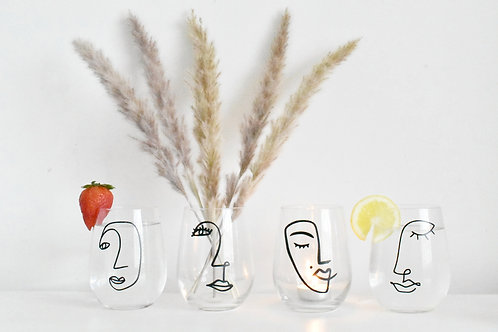 Abstract art stemless wine / beverage glass