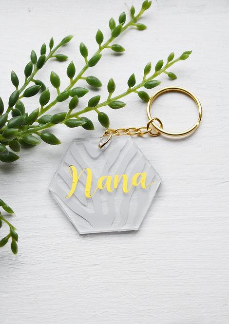 Nana - White Zebra Design - Personalised Keyring