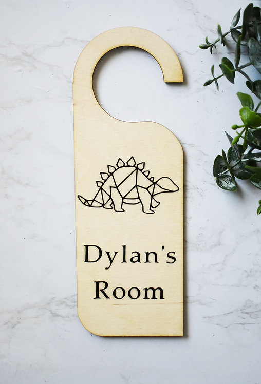 Personalised Kids - Dinosaur - Natural  Wooden Plaque