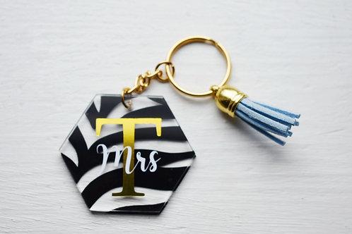 Zebra Print - Mrs - Personalised Keyring