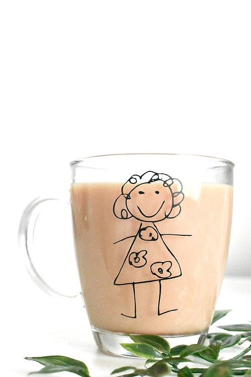 Kids Drawing Personalised Glass Mug (350ML)