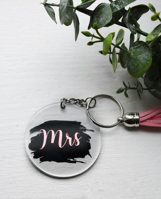Mrs - Paint Stroke Design -   Keyring
