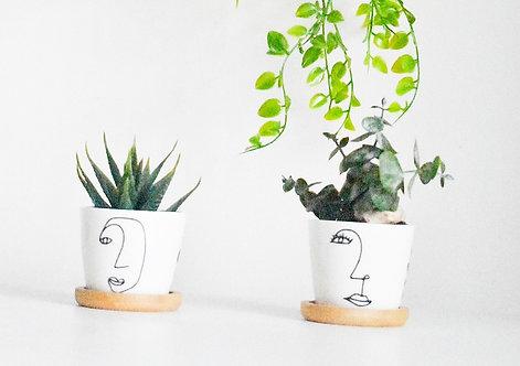 Individual Abstract Print Mini Planter | Mini Pun Pot | Scandi Boho Flower