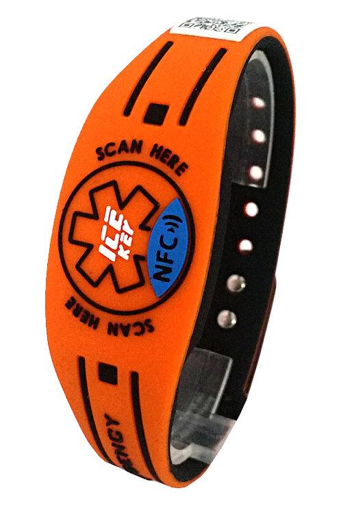 NEW ICE-KEY BRACCIALE RUBBER NFC e QR CODE arancione