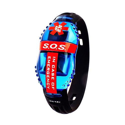 ICE-KEY BRACCIALE CON USB, NFC e QRCode - TRASPARENTE BLU/ROSSO finitura lucida