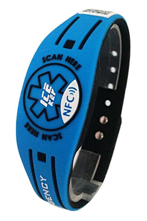 NEW ICE-KEY BRACCIALE RUBBER NFC e QR CODE blu