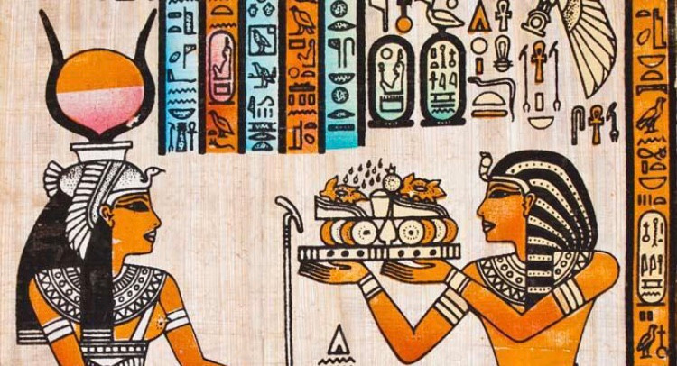 Ancient Egyptian offering a cake