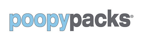 poopy packs dog poop bags logo in blue and gray
