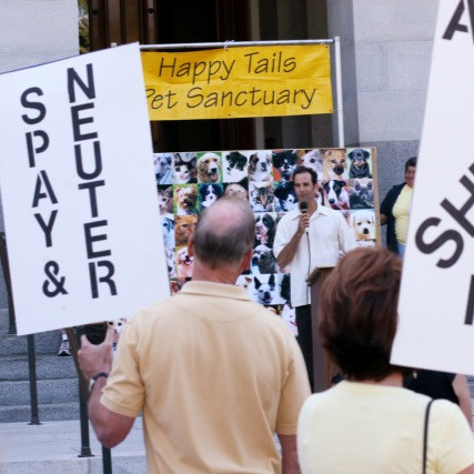 Demonstrators holding signs at an International Homeless Animals Day event