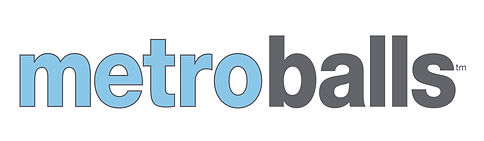 metro balls dog toys logo in blue and gray
