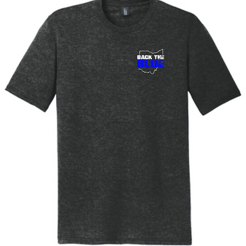 BACK THE BLUE TRIBLEND TEE- BLACK FROST