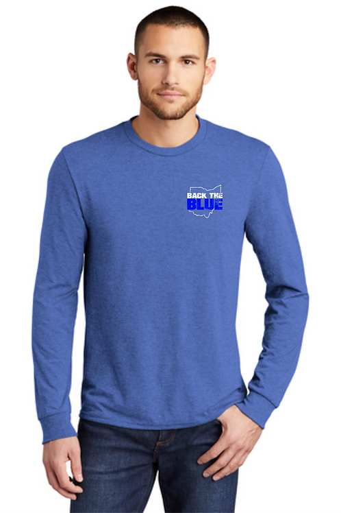 BACK THE BLUE LONG SLEEVE TRIBLEND TEE- ROYAL FROST