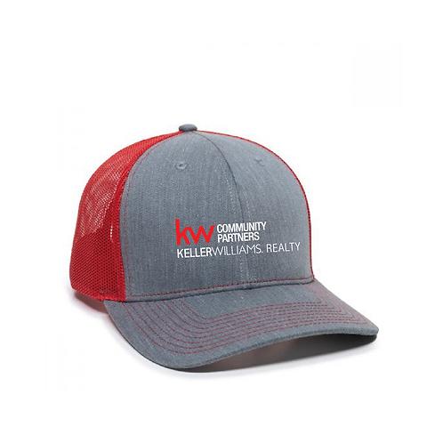 KW STRUCTURED HAT GREY/RED