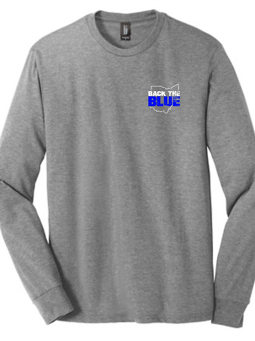 BACK THE BLUE LONG SLEEVE TRIBLEND TEE- GRAY