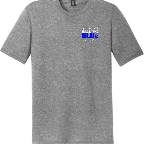 BACK THE BLUE TRIBLEND TEE- GRAY