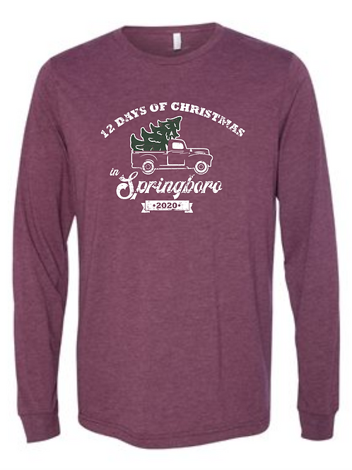 XMAS IN BORO UNISEX TRIBLEND LONG SLEEVE MAROON