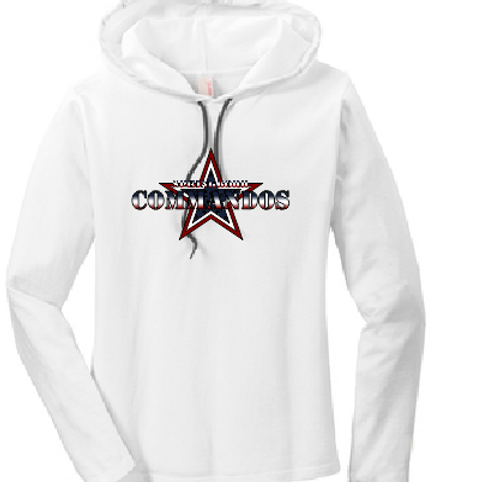 Ladies long sleeve hoodie tee  COMMANDOS