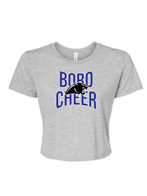 CHEER PANTHER CROPPED TEE GREY