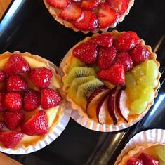 Freshly made homemade tarts at the bakery farringtons