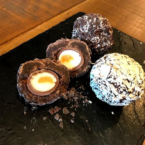 Freshly made chocolate scotch eggs at Farringtons farm shop deli