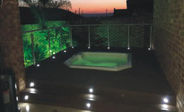 Out-door Jacuzzi installed in a deck