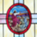 Jesus Sermon on the Mount Stained Glass.