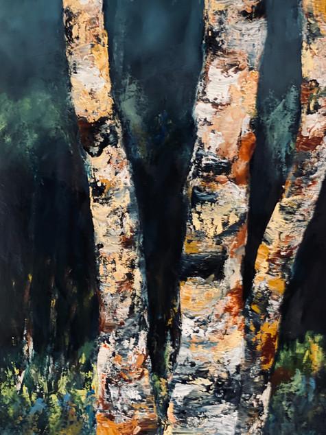 River Birch #4, oil on paper, 10 x 14, 5-20