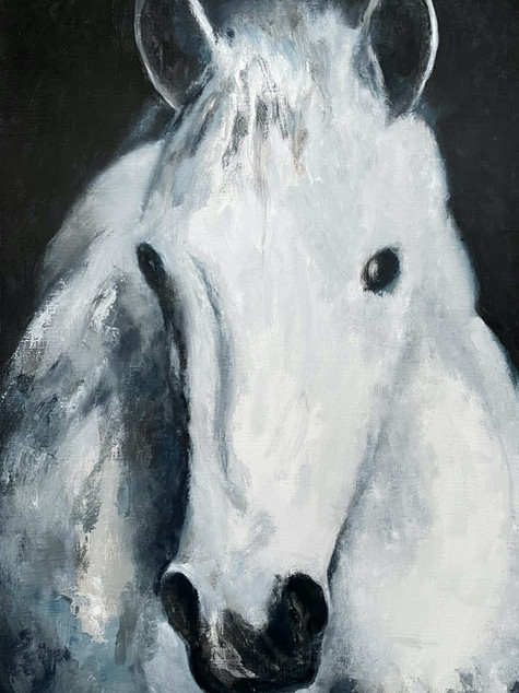 And Then A White Horse, Oil on Canvas, 36 x 48 x 1.5, 2021