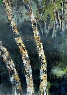 River Birch #3,Oil on Paper, 10 x 14, 2020